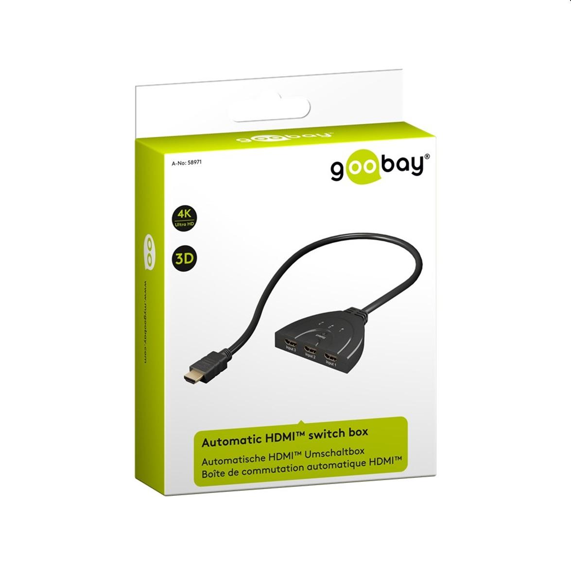HDMI автоматичен switch 4K,3 ports Goobay black