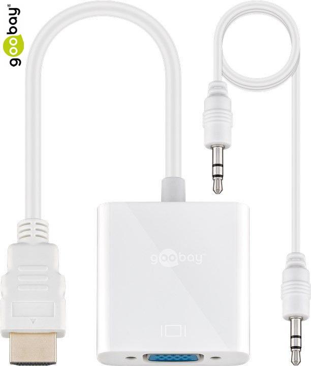 HDMI to VGA Адаптер+звук nickel GOOBAY 51758,бял