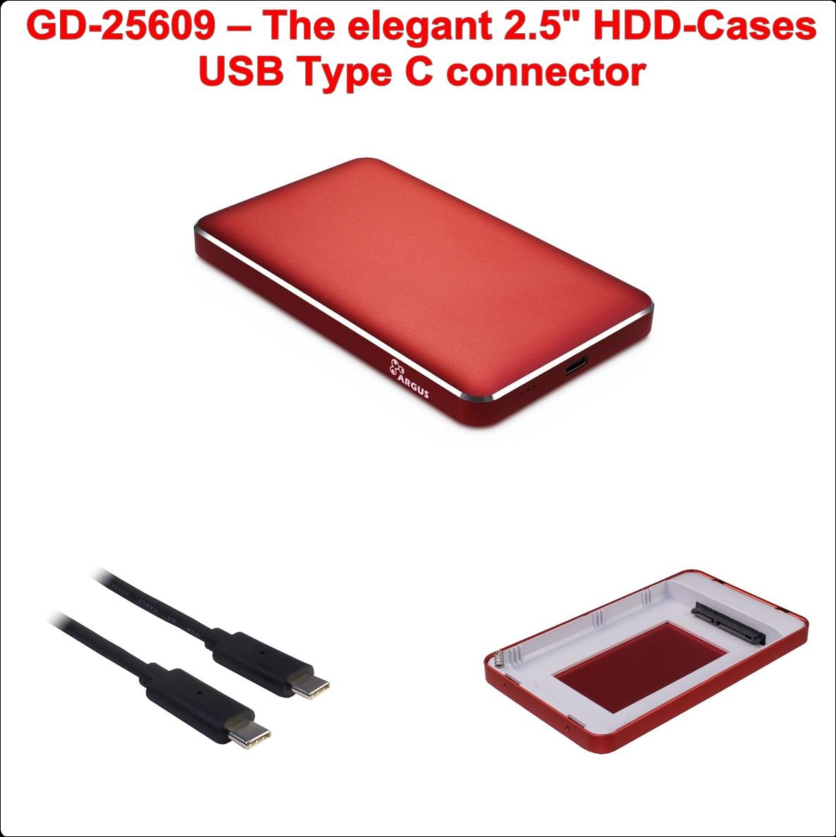 Кутия за диск 2.5``USB Type C (GD-25609 Red)