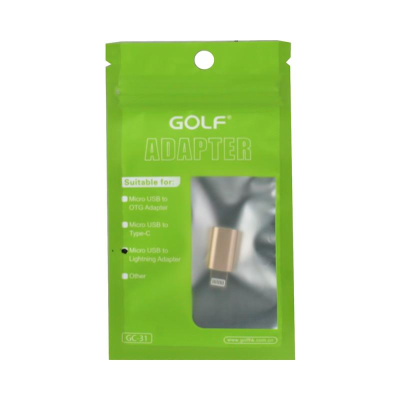 Lightning to Micro-USB OTG adapter GOLF,gold