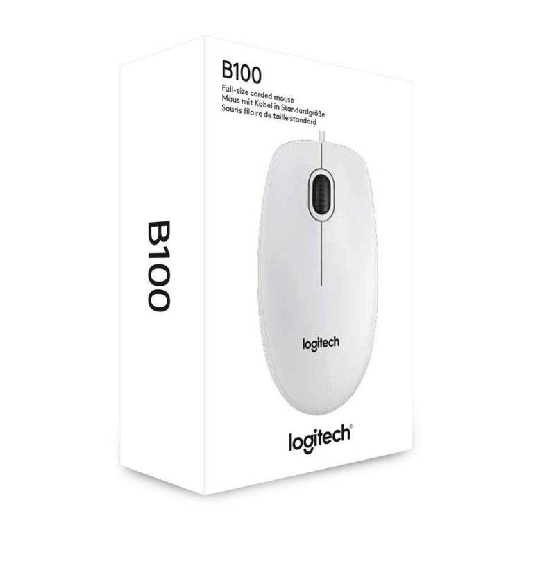 Оптична мишка Logitech B100, USB, Бяла