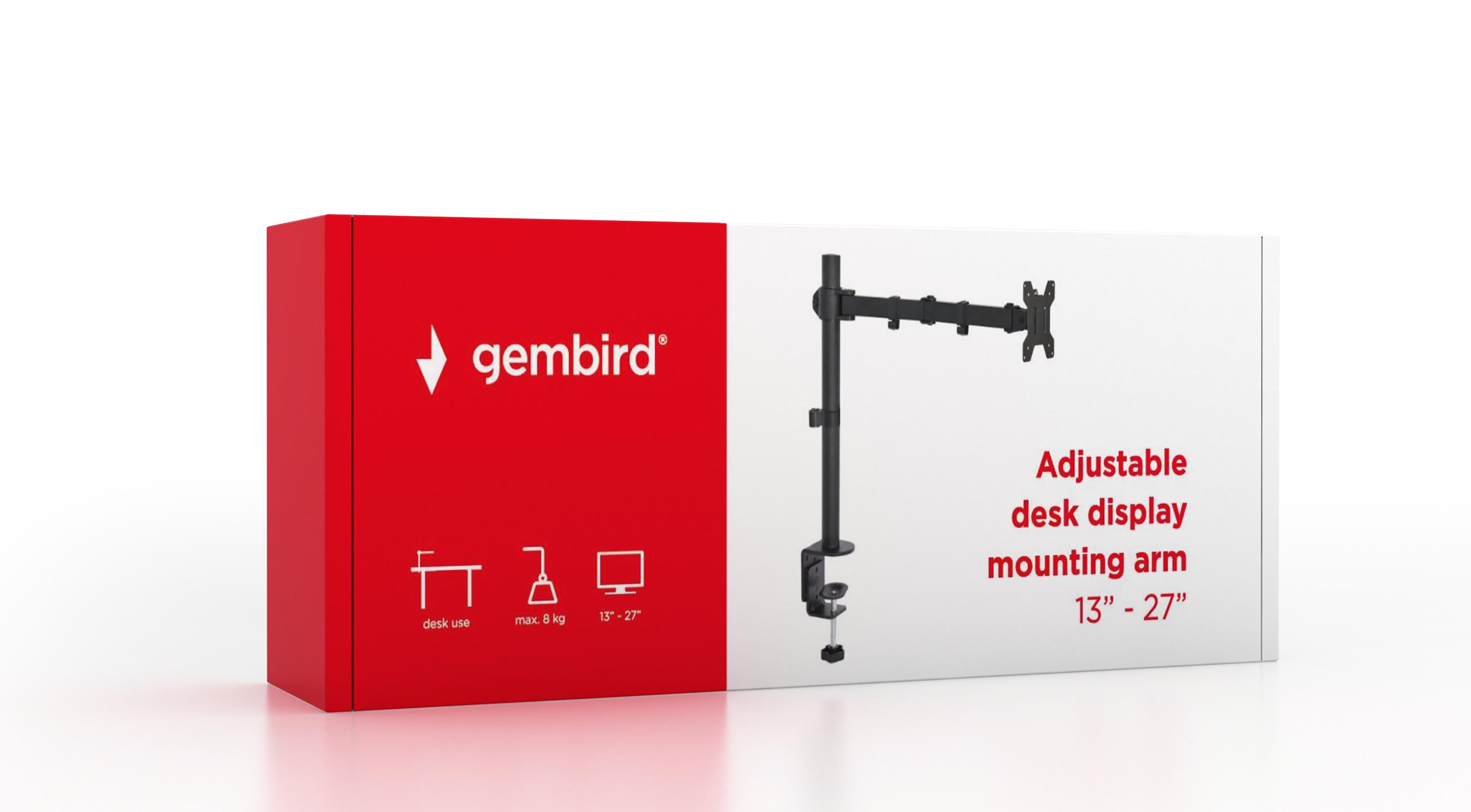 "TV стойка Gembird MA-DF1-01 13 -27""до 8kg наклон"