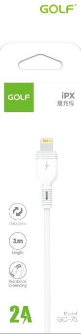 USB male - Apple Lightning 1m/2A Golf Nice бял
