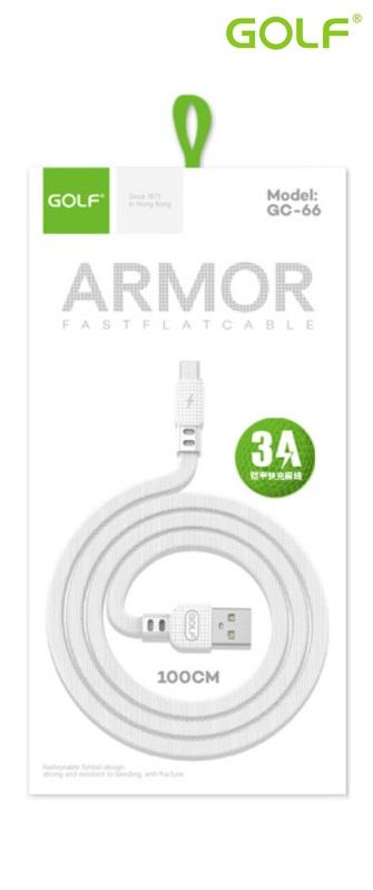USB to Micro USB (1.0m)3А Golf ARMOR бял