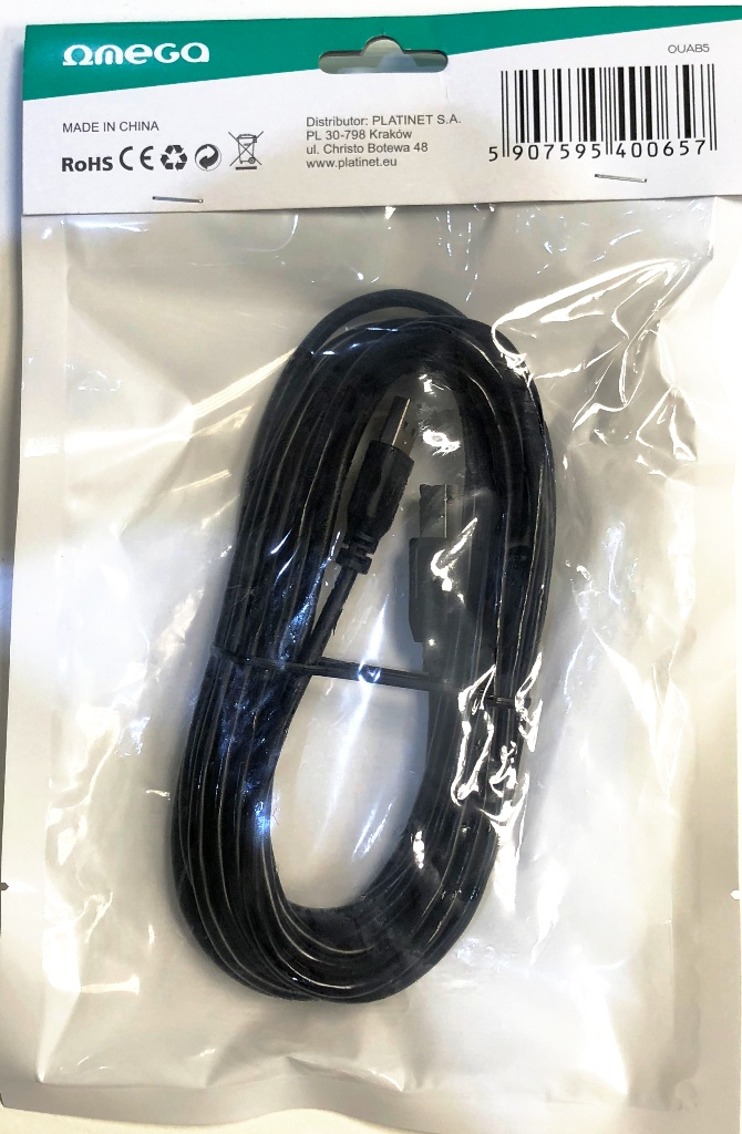 USB2.0 TYPE A-B  5.0m Кабел  Omega
