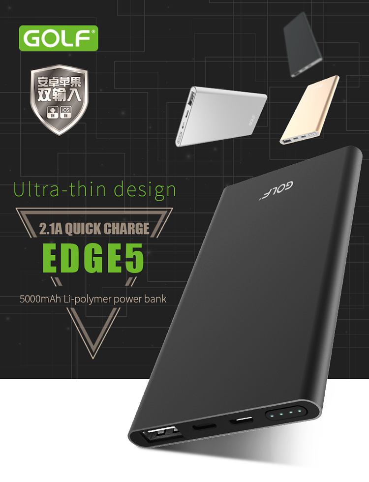 Външна батерия 5000mA GOLF EDGE 5,Micro & iP7/Pl